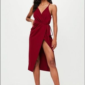 Missguided burgundy wrap dress